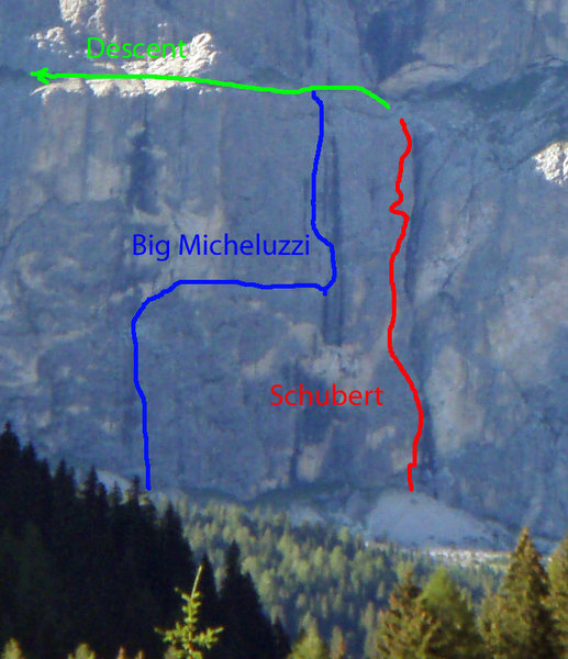 Close up of Big Micheluzzi and Schubert routes