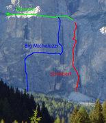 Rock Climbing Photo: Close up of Big Micheluzzi and Schubert routes