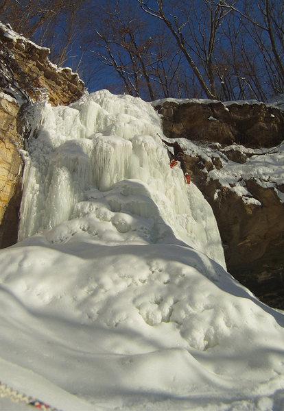 Brendan climbing Minnescott Falls