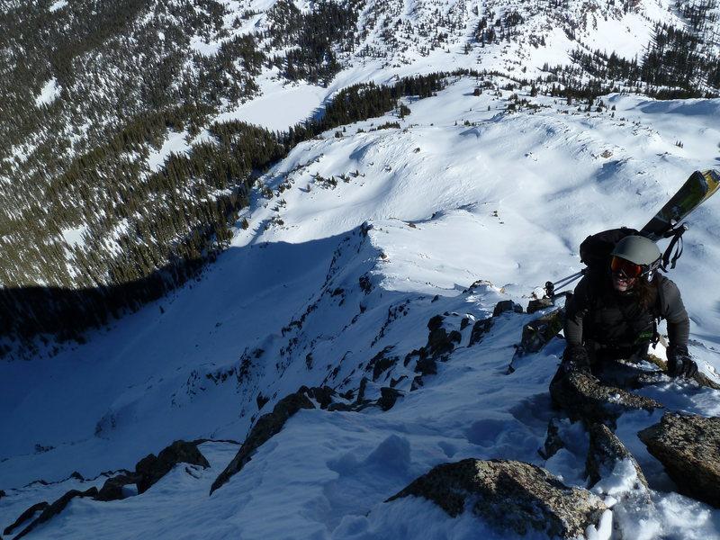 Sam approaching the top of the NE ridge of North Twilight.