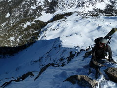 Rock Climbing Photo: Sam approaching the top of the NE ridge of North T...