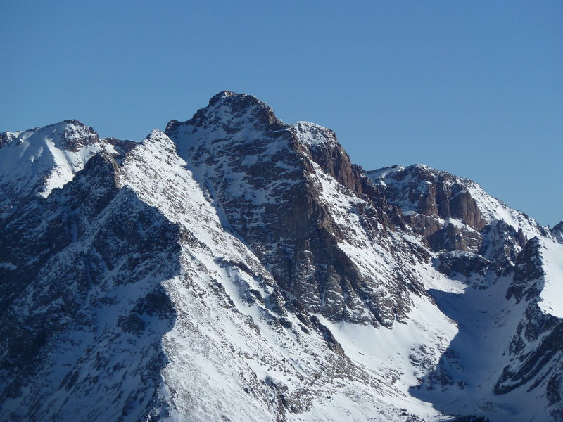 Pigeon Peak from North Twilight.  Walls behind and to the right of Pigeon are on the W face of Mt Eolus' SW ridge.