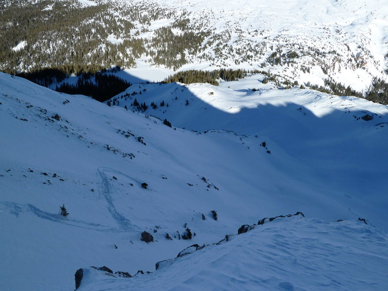 Sam skiing some thin stuff on the E side of North Twilight.