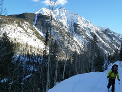 Rock Climbing Photo: Skinning out of Lime Creek.  We skied to the promi...