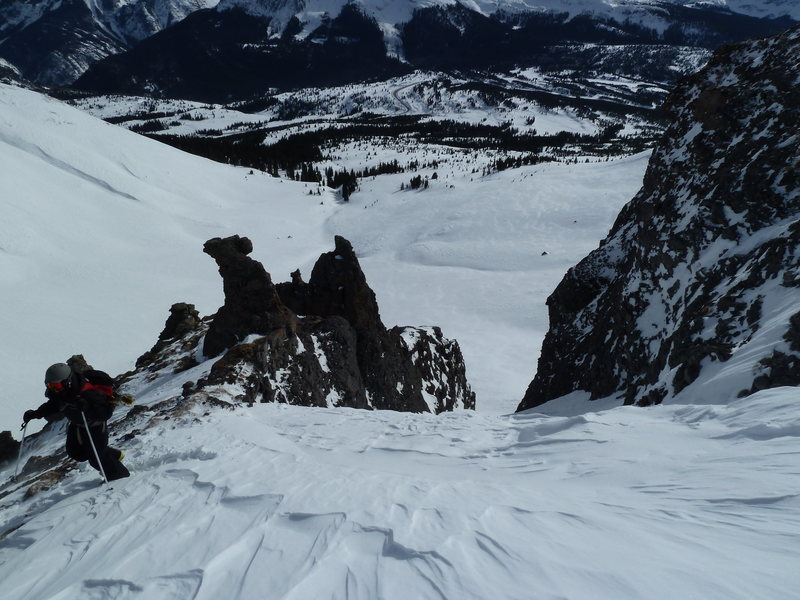 Rock Climbing Photo: At the top of Pig Puss couloir.