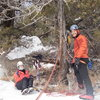 Matt Cova and Lynda Christensen at the belay/rappel tree.