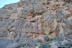 Rock Climbing Photo: This is a topo of the center portion of the main w...