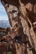 Rock Climbing Photo: The tricky start of Promises in the Dark