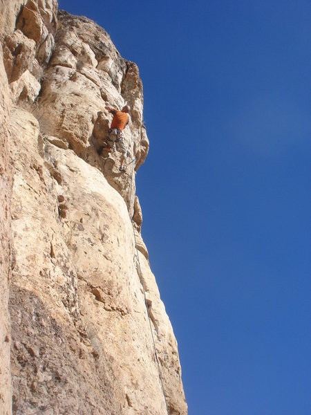Craig working the crux of Richter Scale.