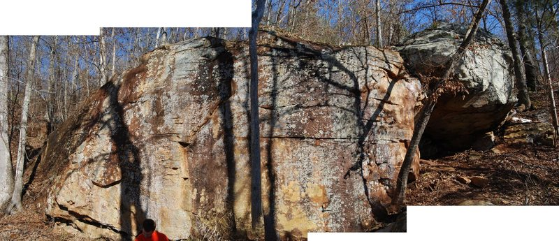 A quick panorama of the Cave Wall and the large boulder resting against it on the right.