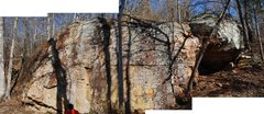 Rock Climbing Photo: A quick panorama of the Cave Wall and the large bo...