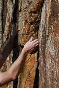 Rock Climbing Photo: Small pocket in the beginning corner of Guilty as ...