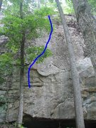 Rock Climbing Photo: The start is in front of the obvious tree on the l...