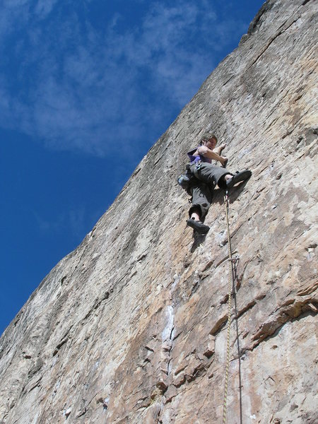 Rock Climbing Photo: Max working up Lost Planet Airman.