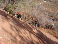 Rock Climbing Photo: Starting up the long 4th class runout to the first...
