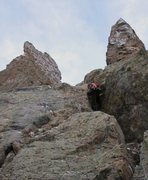 Rock Climbing Photo: Chris Sheridan on the first pitch of The Petit Gul...
