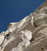 Rock Climbing Photo: me leading the easy 3rd pitch of Western Front.