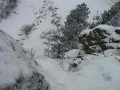 Rock Climbing Photo: Snowy day. Looking down about halfway up pitch 2. ...