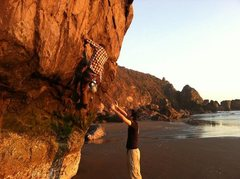Rock Climbing Photo: Buddy spotting me while I try to work my way up so...
