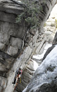 Rock Climbing Photo: Max cleaning the route after the first ascent.  Th...