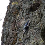 Rock Climbing Photo: The amazing Ben Priestly on lead. The lower part o...