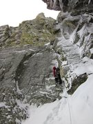 Rock Climbing Photo: Kevin Landolt leads up pitch 5 of The Petit Gully....