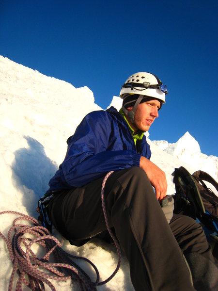 Climbing Rainier.
