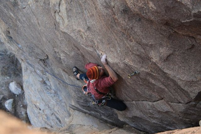 Super slabby finish on some run out territory for a sport climber, great line at Sun Spots<br>