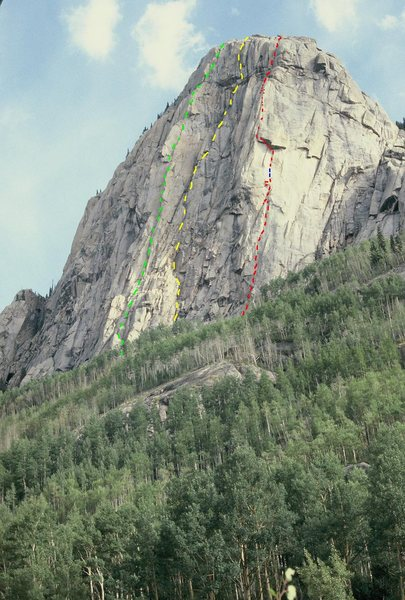 The Pope's Nose from Flint Creek Trail.<br> KT Photo, 1980.<br> <br> Red - Contraceptive Cracks.<br> Yellow - Chalice Wall approx.<br> Green - Central Buttress.<br> <br>