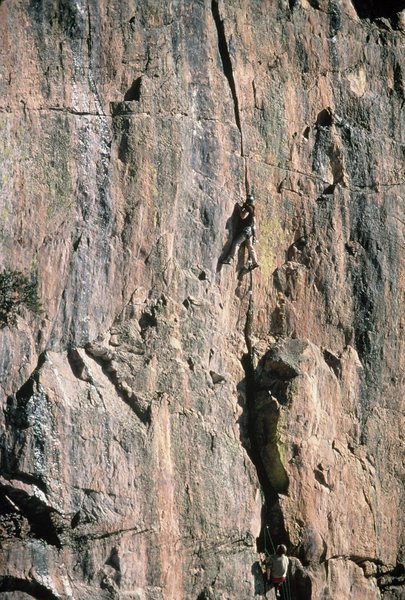 Ken Trout and Scott Visscher<br> Second Free Ascent, February, 1978.<br> <br> A couple weeks after Steve Wunsch freed the crack, Jim Donni & Bruce Lella did it with a bit of A0.<br> <br> Photo by a fellow climber from Durango who owned a telephoto.  Best guess:  Dave Herman.