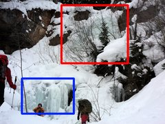 Rock Climbing Photo: Red rectangle: Racketiers Blue rectangle: Good ice...