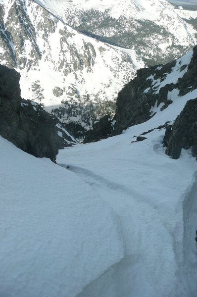 Rock Climbing Photo: Looking down the upper couloir.