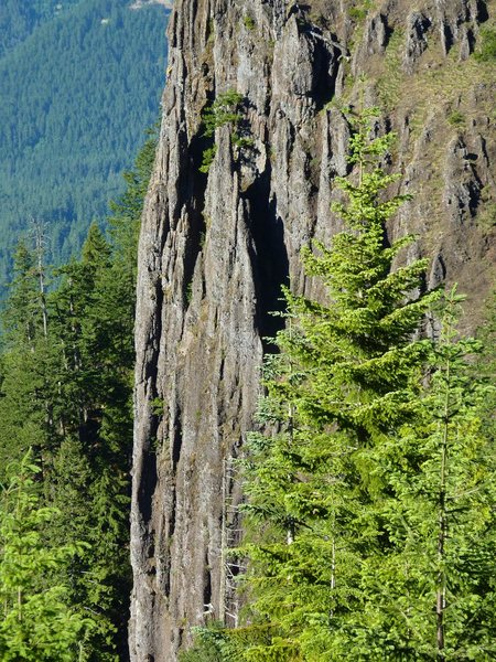 Distance shot of Ben Priestly and Scott Peterson on The Salethe Highway route on the Old Witch Pinnacle.