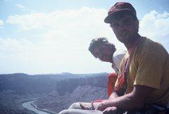 Rock Climbing Photo: Bryan and Erik on top of Dolomite, c 1985.