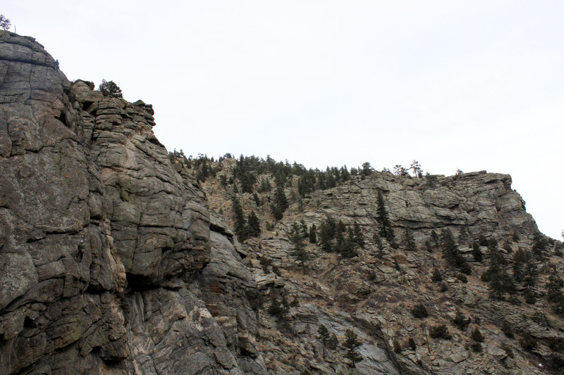 Jimmy at top of route, Justin belaying at midpoint.