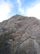 Rock Climbing Photo: Looking up at the NE face from the col.  Belay fro...