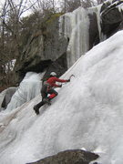 Rock Climbing Photo: Val heads up the Northeast Cascade, with its WI4 f...