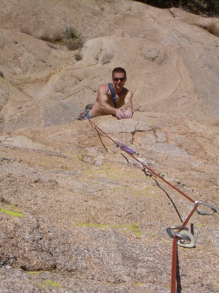 Rock Climbing Photo: Wyatt turning one of the many bulges on the first ...