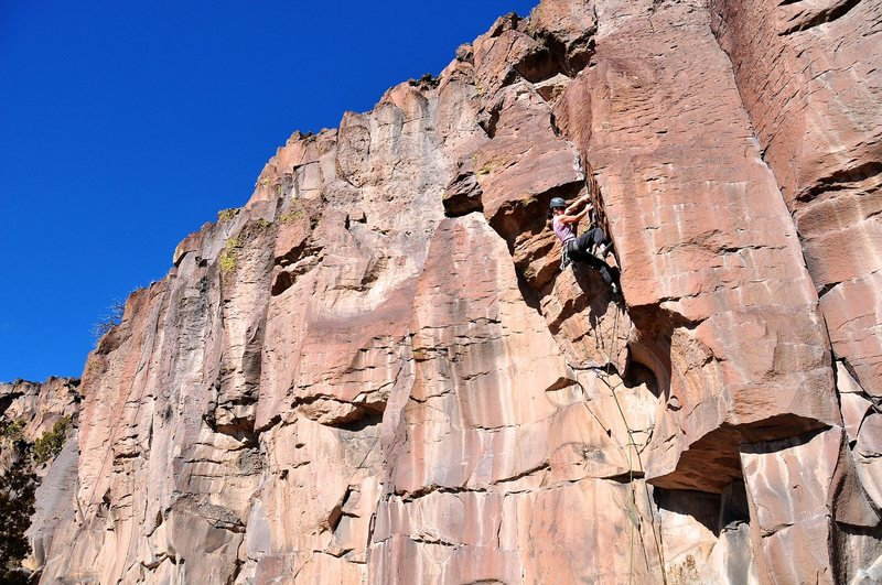 Rock Climbing Photo: The crux of the route is committing but positive l...