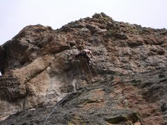 Rock Climbing Photo: Nick Duttle climbing through the upper headwall to...