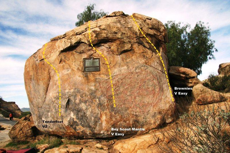 Rock Climbing Photo: Boy Scout Boulder East Face Topo