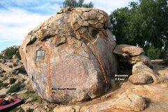 Rock Climbing Photo: Boy Scout Boulder North East Face Topo