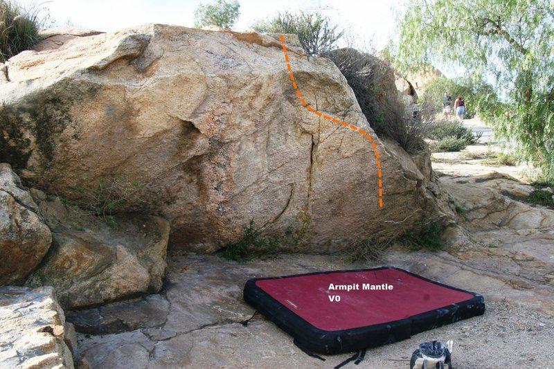 Rock Climbing Photo: Armpit Boulder Topo