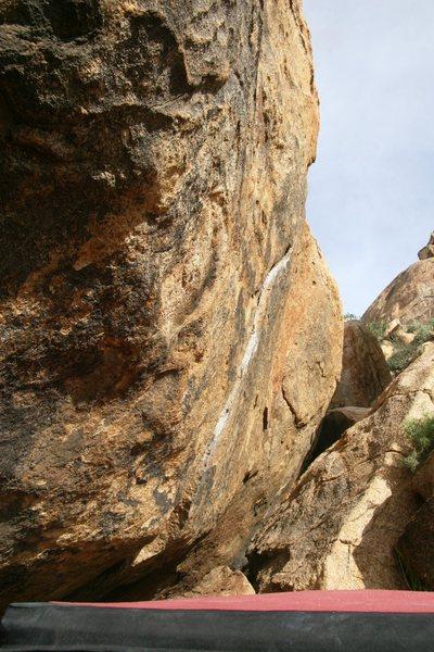 From below the overhang