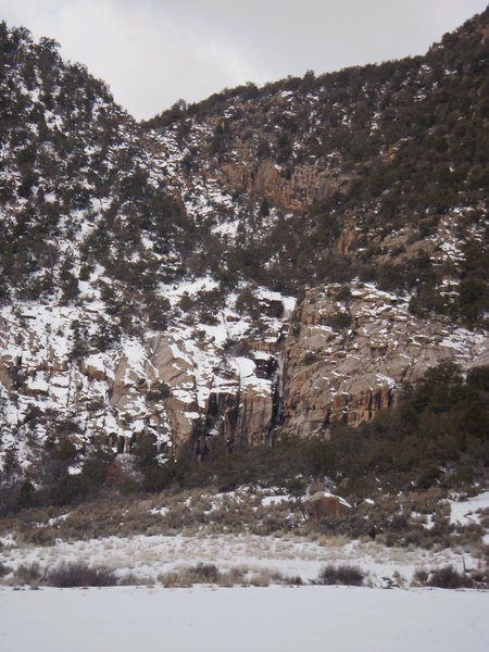Rock Climbing Photo: Snyder Cleft as seen from CO 141.