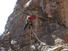 Rock Climbing Photo: Andy Albosta on the traverse pitch 3.
