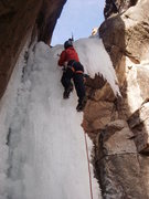 Rock Climbing Photo: Matt Cova, Grand Junction, leads the first pitch.