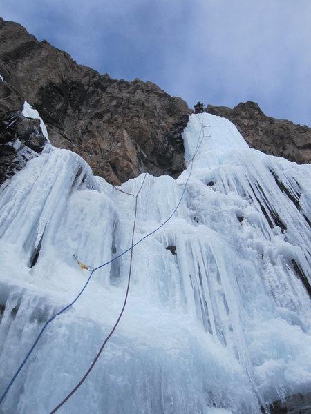 Rock Climbing Photo: Eric on the pillar of pitch 3.