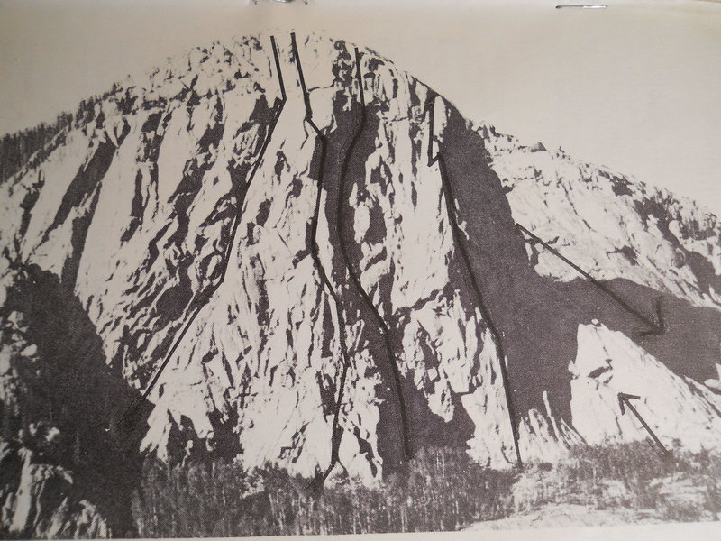 The Pope Nose<br> from Southwest Rock, 1985<br> by David Kozak.<br> The first guidebook for Durango.<br> <br> From the left:<br> Thunder Road IV, 5.9, A3.<br> Central Buttress, IV, 5.10, A0.<br> Chalice Wall, V, 5.9, A2.<br> Contraceptive Cracks V, 5.9, A3.<br> Brain Damage, II, 5.9+.<br> Brain Damage.<br> <br> The descent arrow makes me think: &quot;Go down the other side?&quot;
