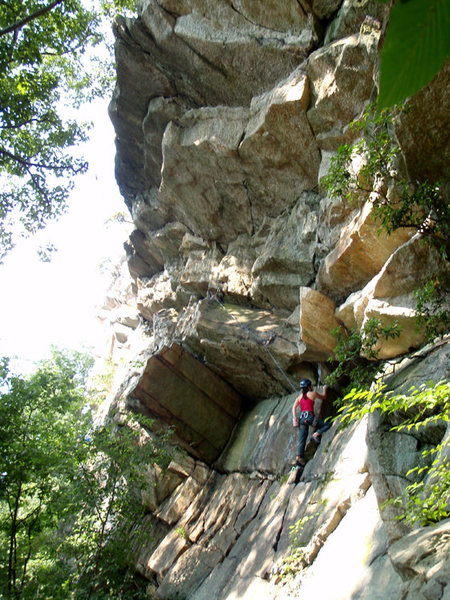 Approaching the p1 crux on Le Plie, August 2009.